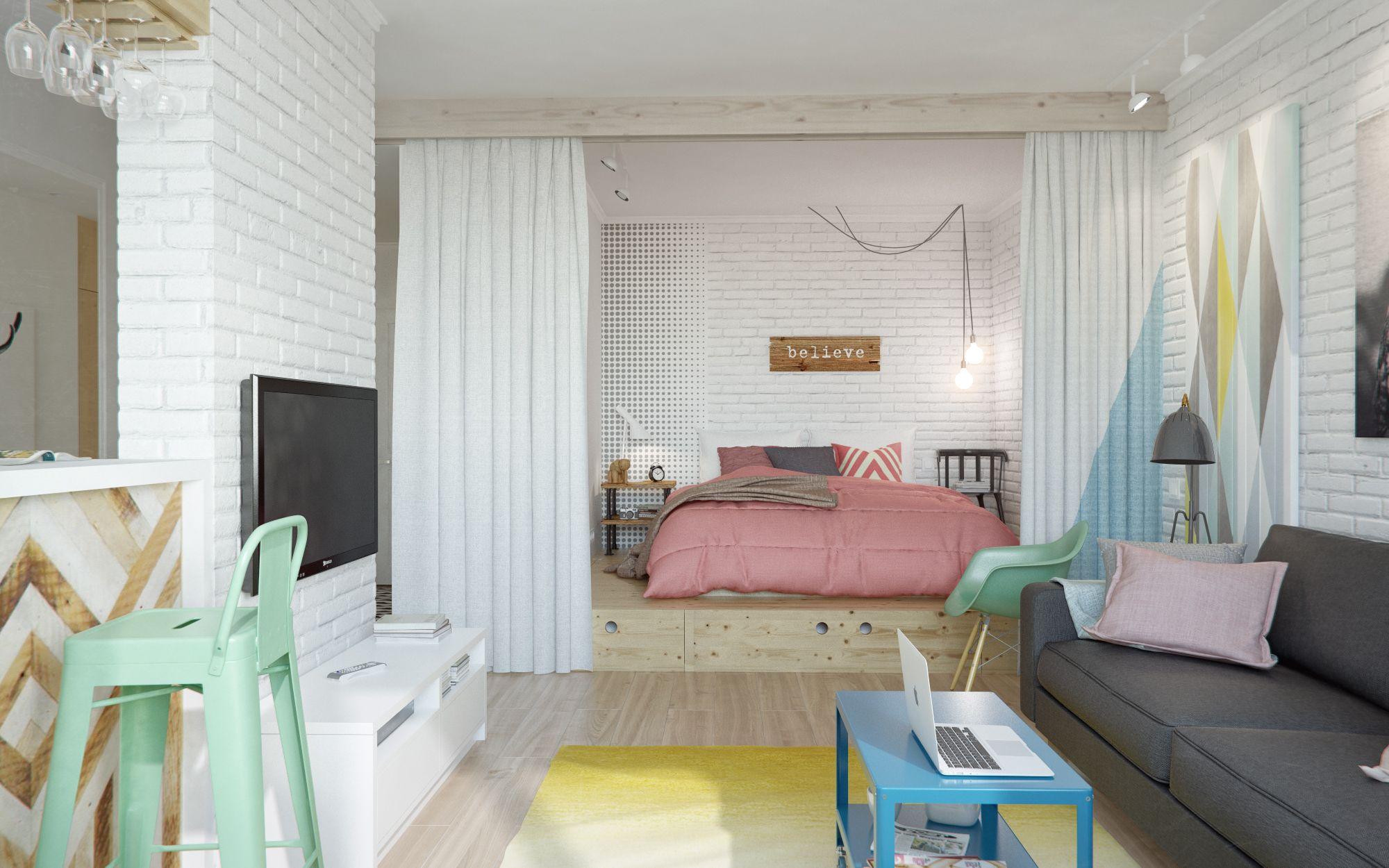 这个角度可以清晰的看到卧室和客厅是一体式,用帘子遮住了私人休息的场所