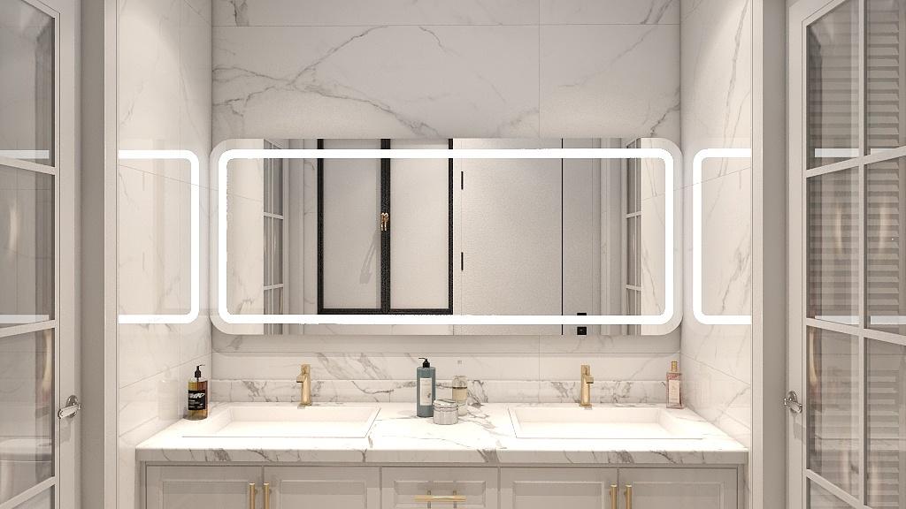 白色大理石墙壁与线条软装结合,彰显时尚风格,金属点缀为卫浴空间增添了一抹精致。