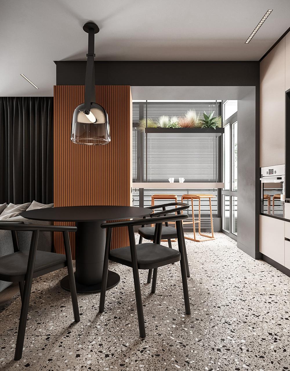 餐厅采用黑橘色为主色调,有着较为现代的气场,一切装饰简单化彰显出尊贵与奢华。