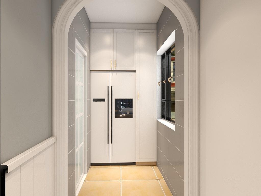 雾霾蓝橱柜搭配金色把手,使厨房空间更加精致,冰箱设计方式巧妙。
