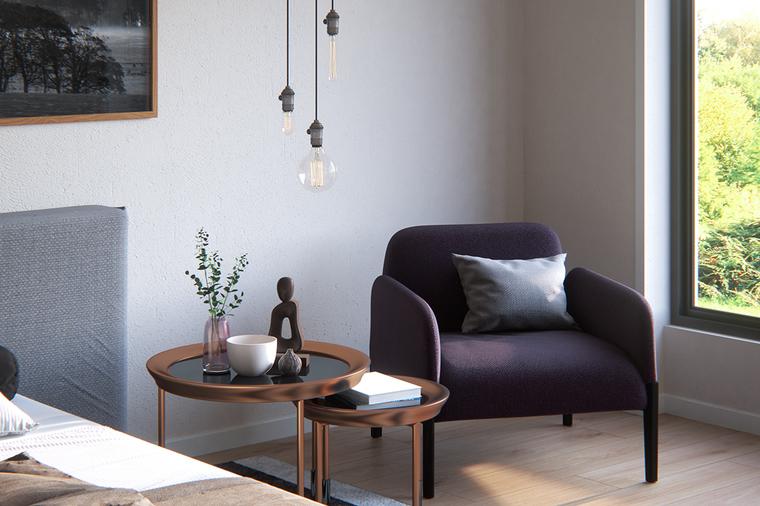 一角的沙发,增加卧室的舒适感。