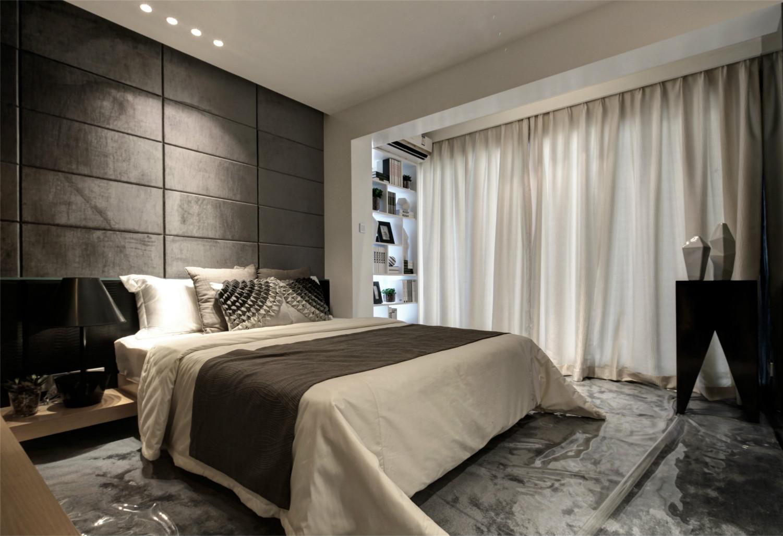 主卧室整体以冷色为主,整体简约时尚