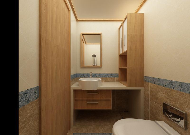 卫生间同样也是木质风格,做了一个独立的柜子。