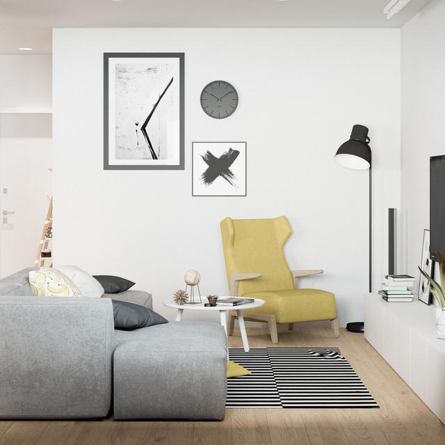 客厅的原木搭配经典的灰色布艺沙发,让空间不多不少的变得介于小清新和质朴之间。