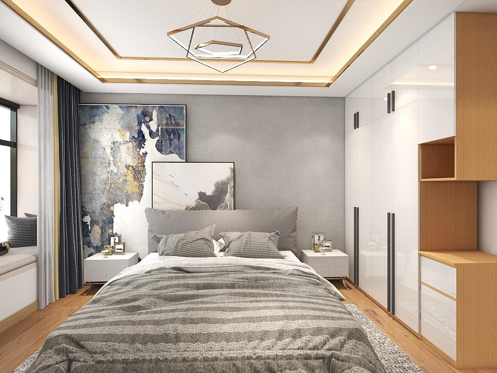 侧卧素雅静谧,一旁衣柜局部采用不规则设计,注以室内活泼气息外,也具有一定的装饰作用。