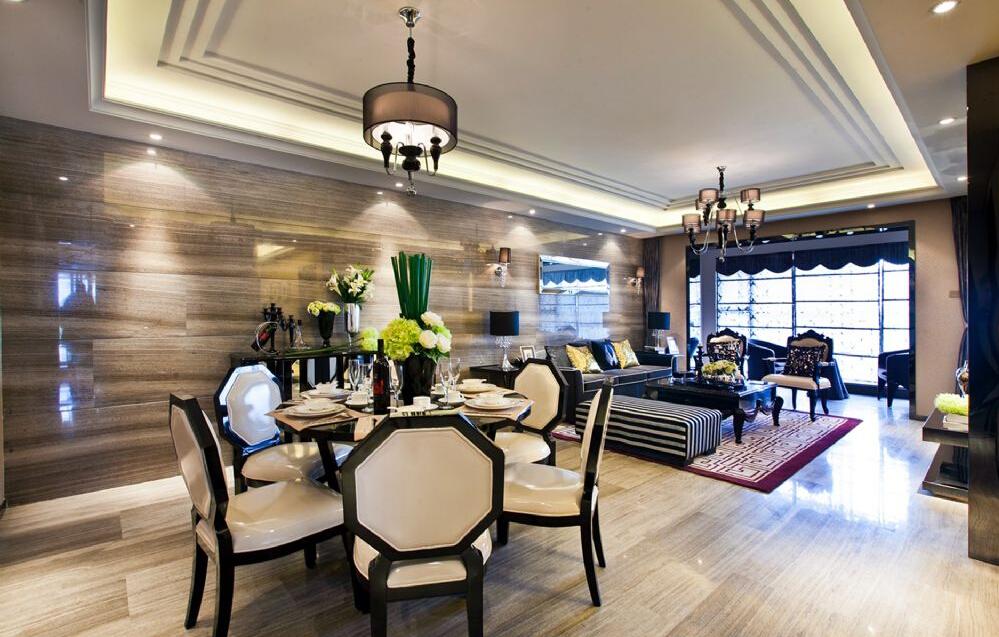 客厅餐厅合一的设计保证了户型的通透采光