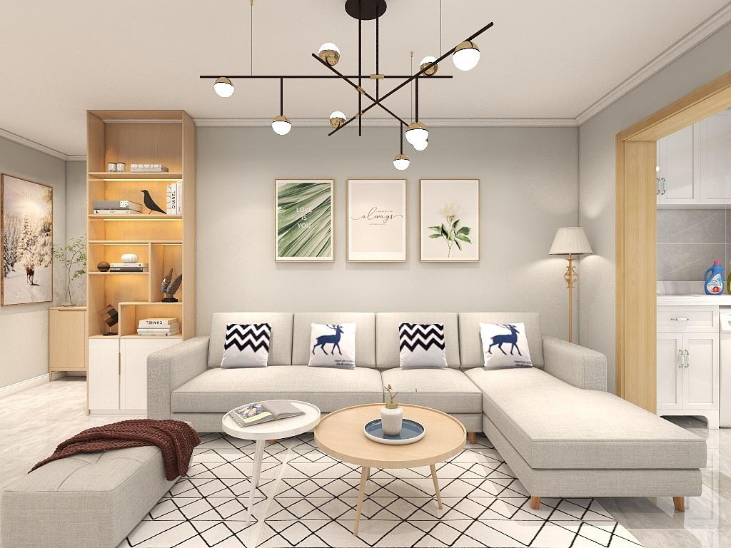 客厅巧妙运用浅色调,简单的米色沙发触感舒适,L型摆放提升聚拢感。