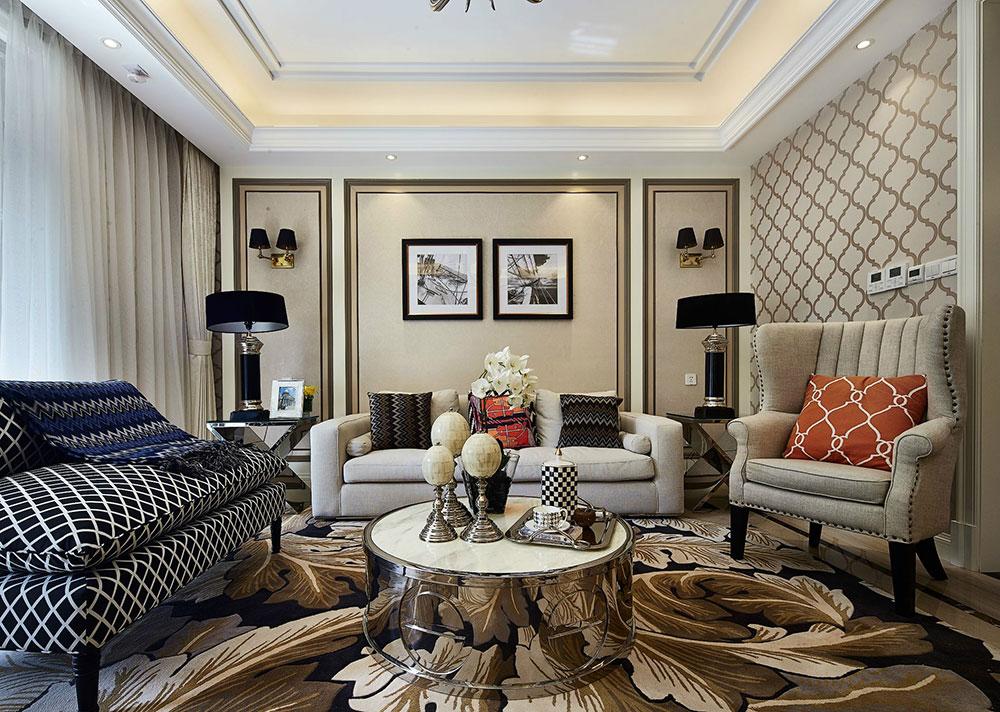 客厅布局讲求对称,庄重而有序,整个空间体现出平衡、和谐的美感,档次和品位于不动声色中蔓延开来~