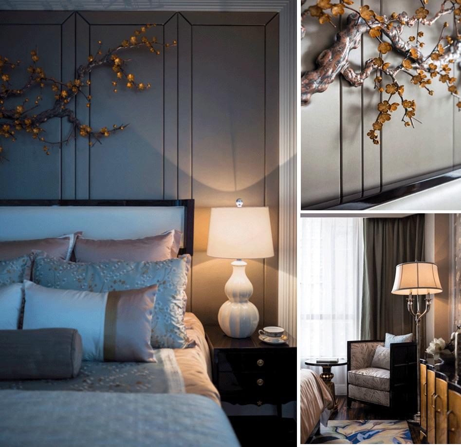 床头背景墙色调温和,艺术挂件透出气派感,局部内饰婉约温情,呈现出安静优雅的氛围。