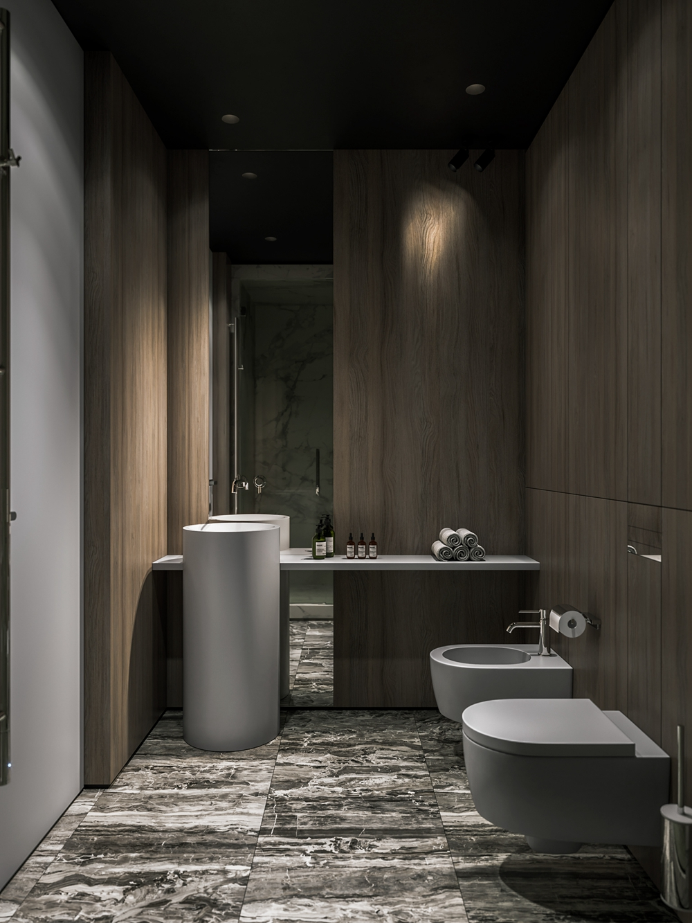 卫浴间设计简约雅致,黑白纹大理石地面和细腻洁具形成对比,卫浴空间显得十分精致。