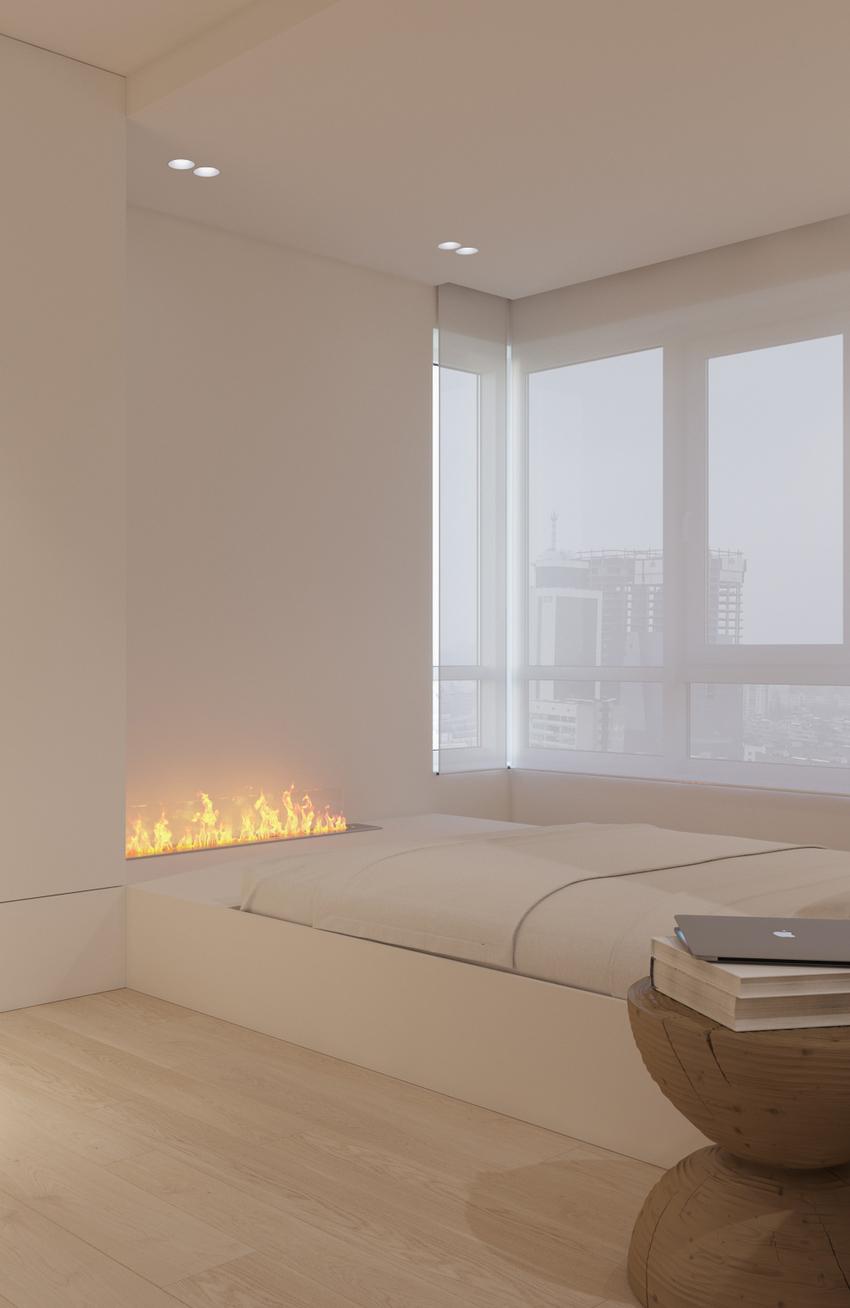 寒冷的天气时,床底下独特的壁炉显得极致奢华。