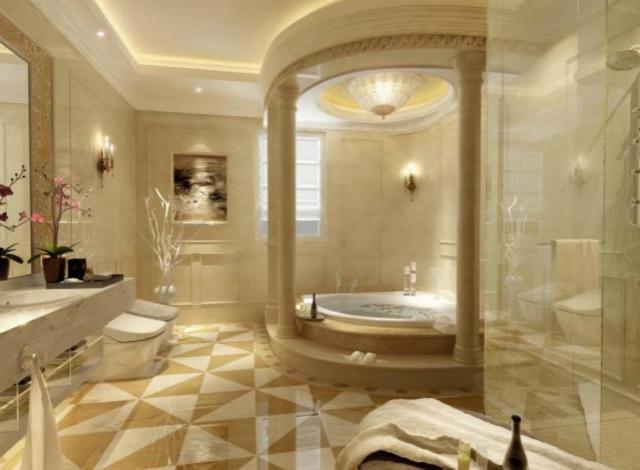 卫生间装修采用了意大利圆柱等设计,富丽的装饰尽享奢华大气。