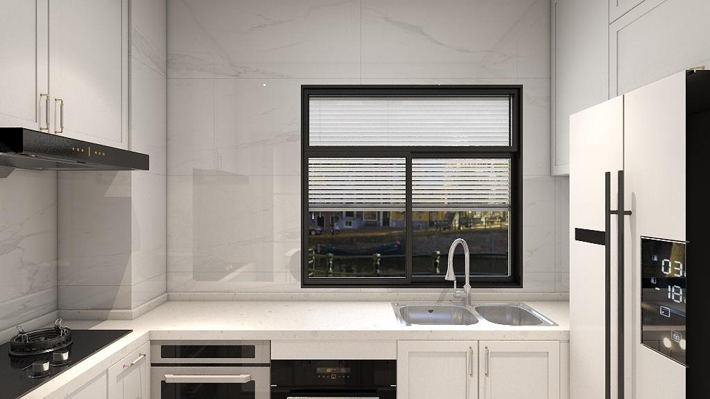 厨房采光较好,白色橱柜提升了室内光感,局部使用黑色勾勒,使厨房空间更大气。