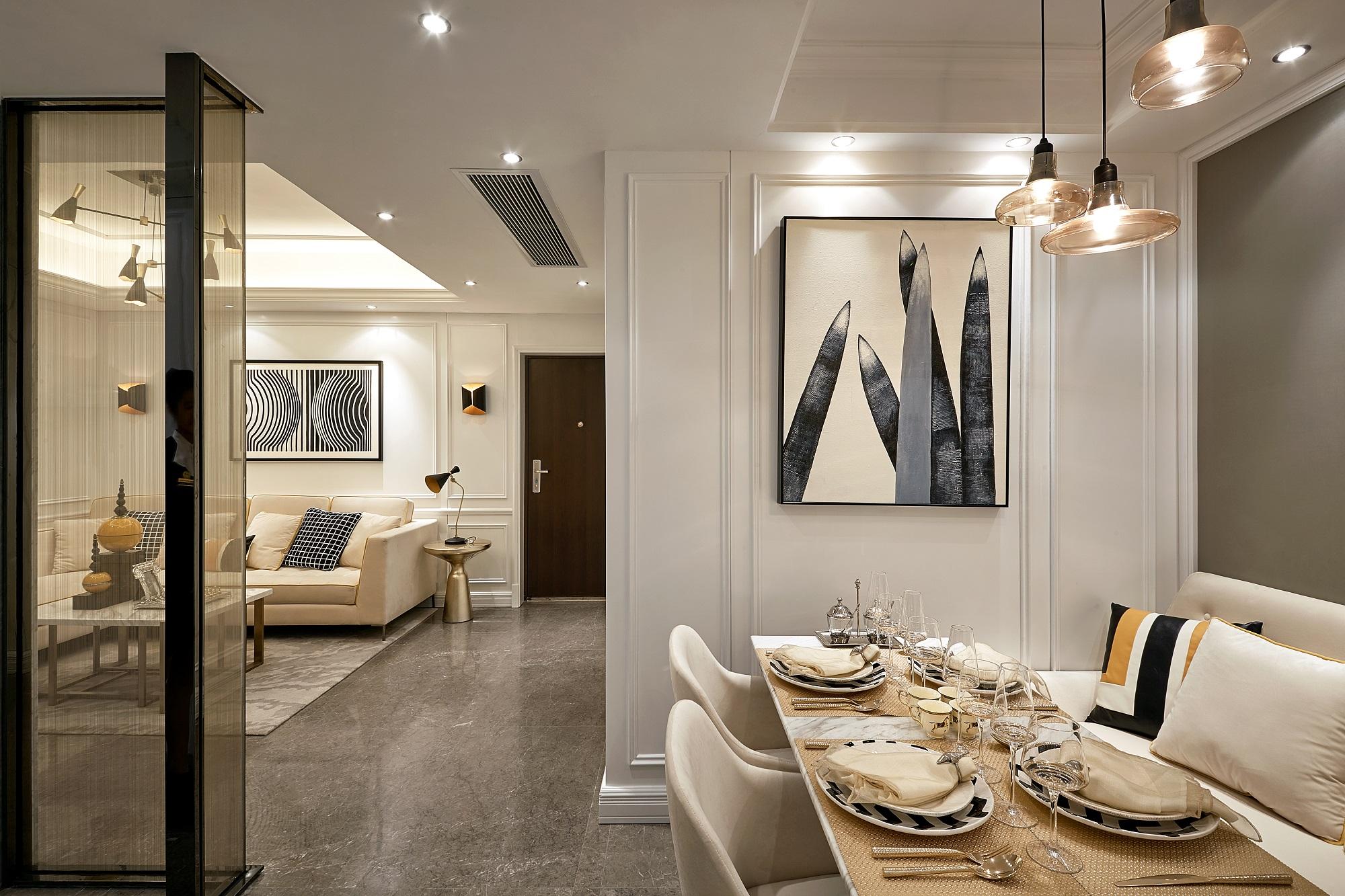 餐厅设计卡座,让空间利用更完美,背景墙画能提升整体空间的时尚感。