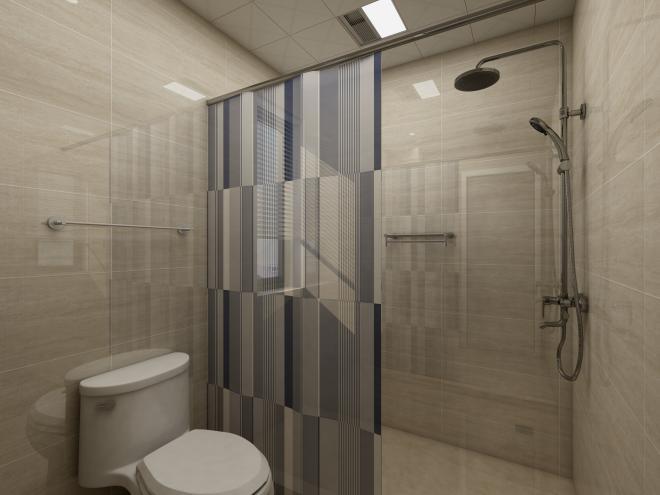 爱空间标配卫生间,业主用浴帘简单隔断,很好的进行了干湿分区。