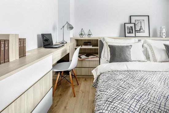 延续无印风格主题,纯净的白佐以温暖的木纹质地,让休憩空间充满自然纾压气息。
