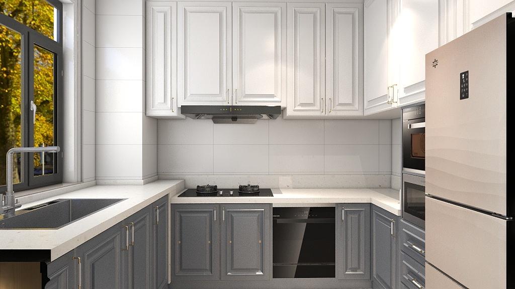 U字型橱柜充分把墙壁空间利用了起来,白色蓝色橱柜分层设计,使整个厨房显得那么明亮。