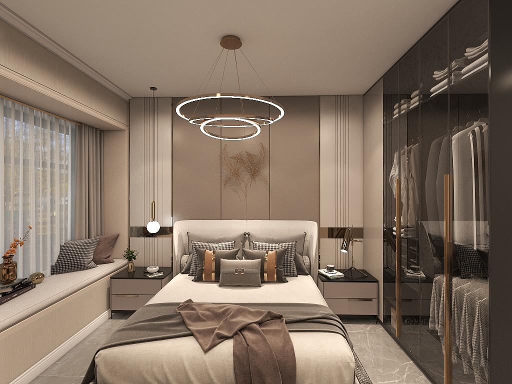 背景墙设计将空间分出了层次,明亮的光线透过玻璃门将衣柜的格调带到空气中。