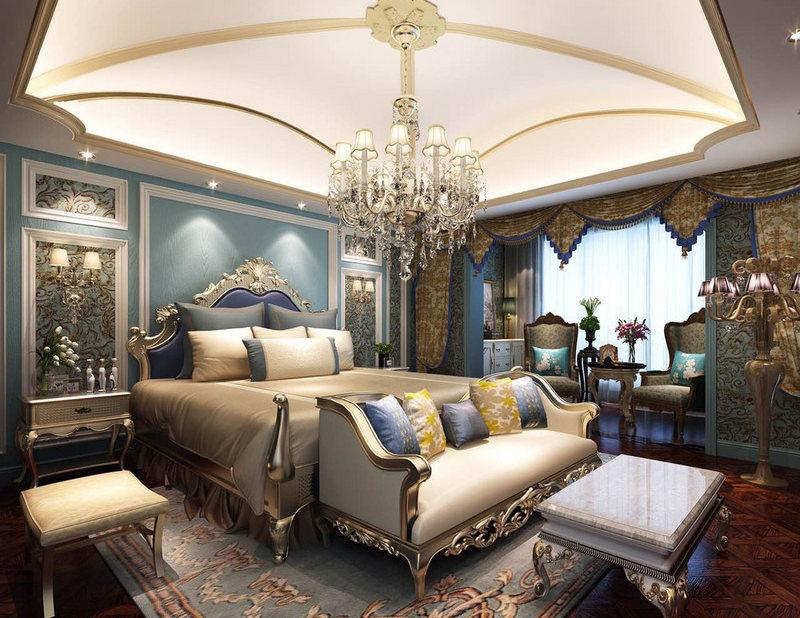 卧室的吊顶以微拱形设计加金线勾勒,宛如一朵盛开的花儿,欧式水晶吊顶与壁灯带着厚重的欧式之韵。