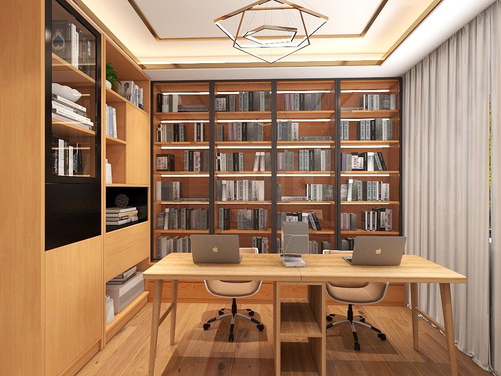 书房以不假雕饰的木质装饰,色感自然温润,收纳分割层次分明,让室内更显细腻完整。