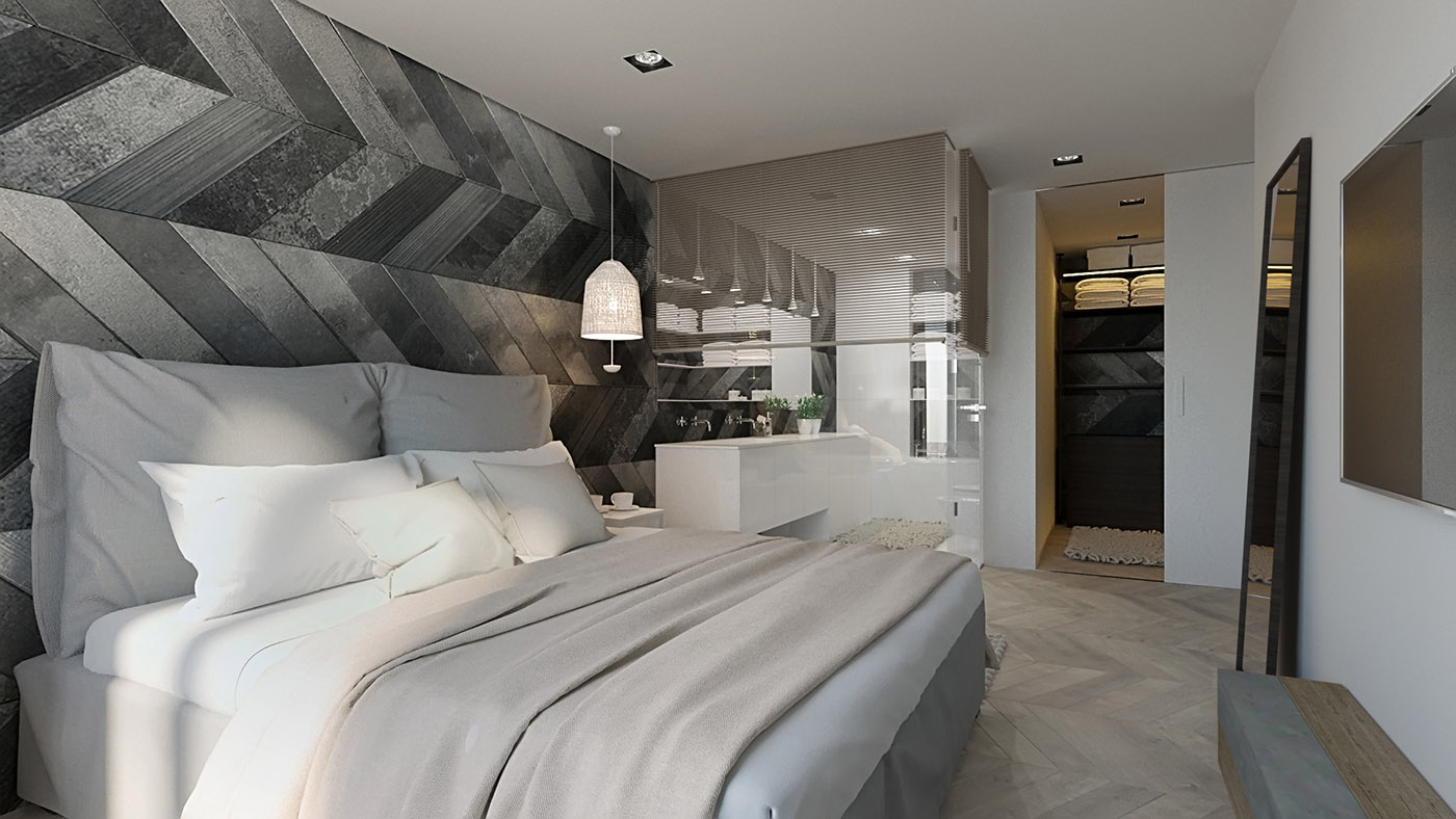 卧室的空间也很足够,卧室还有一个生活阳台,搭配亮白的精致吊灯。
