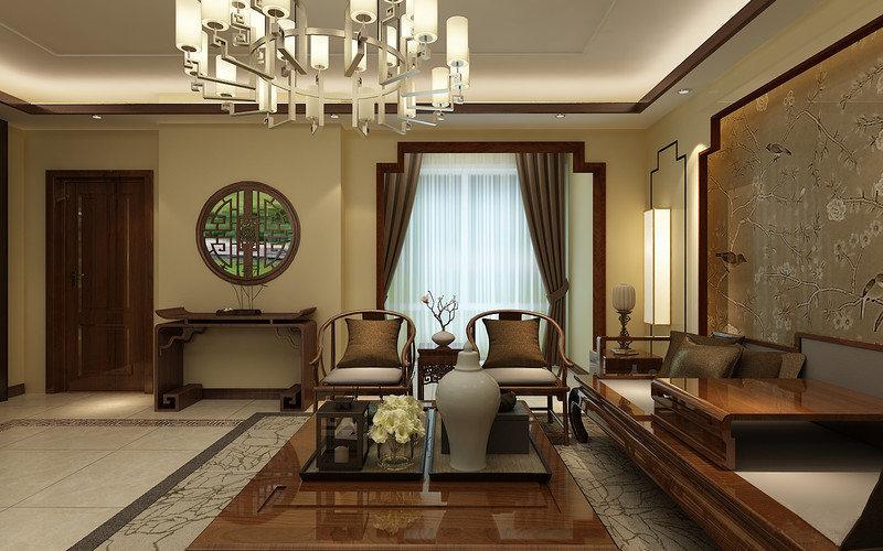 整体客厅米色的色调让整个空间十分和暖,从园林找那个汲取灵感,让墙面多了东方底蕴。