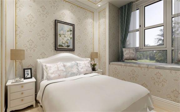 飘窗设计让空间更具美感,白色纱帘给人一种飘逸纯洁之感,不自觉地便感到轻松自然。