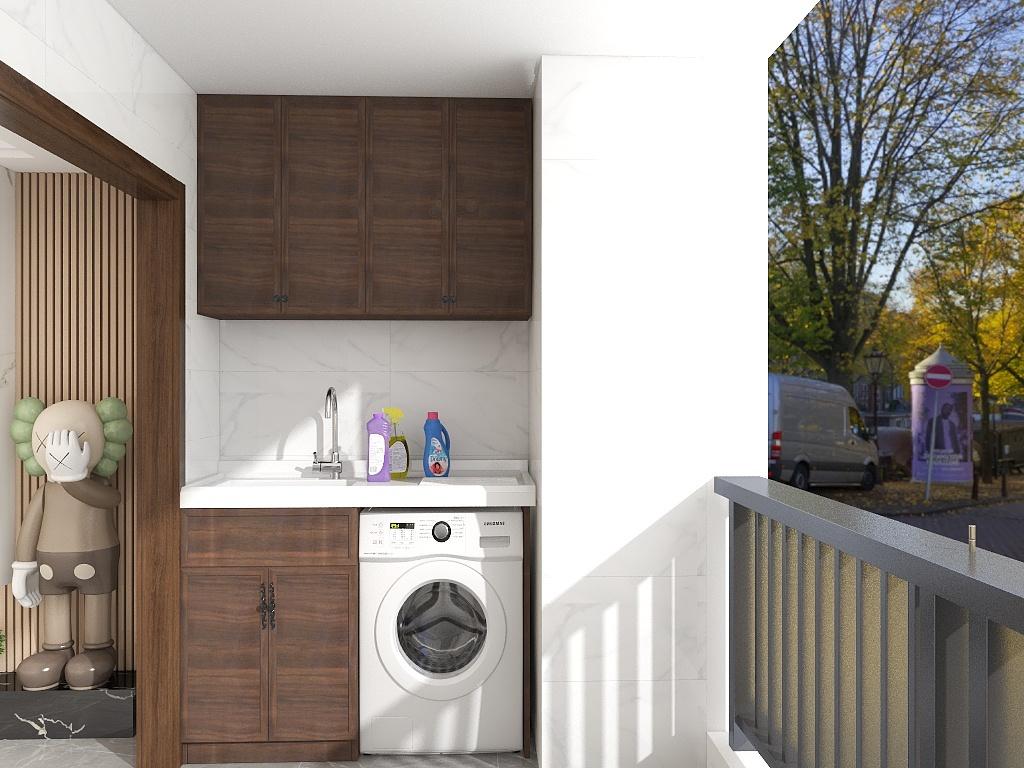 阳台放置了洗衣机,缩短了洗衣、晾衣的动线,木色收纳柜造型让空间更有美感。