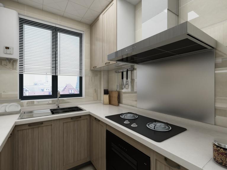 爱空间标配的厨房,厨房空间不大,但各种功能齐全。