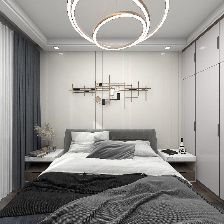 烤漆材质背景墙搭配金属装饰,让卧室多出一些格调感,灯具艺术造型时尚感强烈。