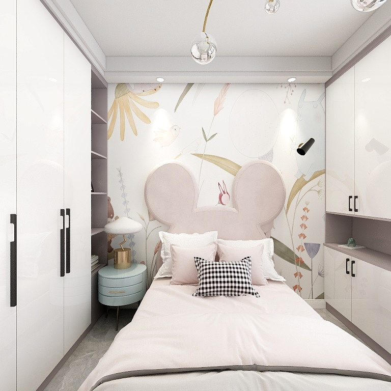 兒童房整體基調以白色為主,軟萌可愛的床體造型擁有童趣性,背景墻設計色彩感豐富。