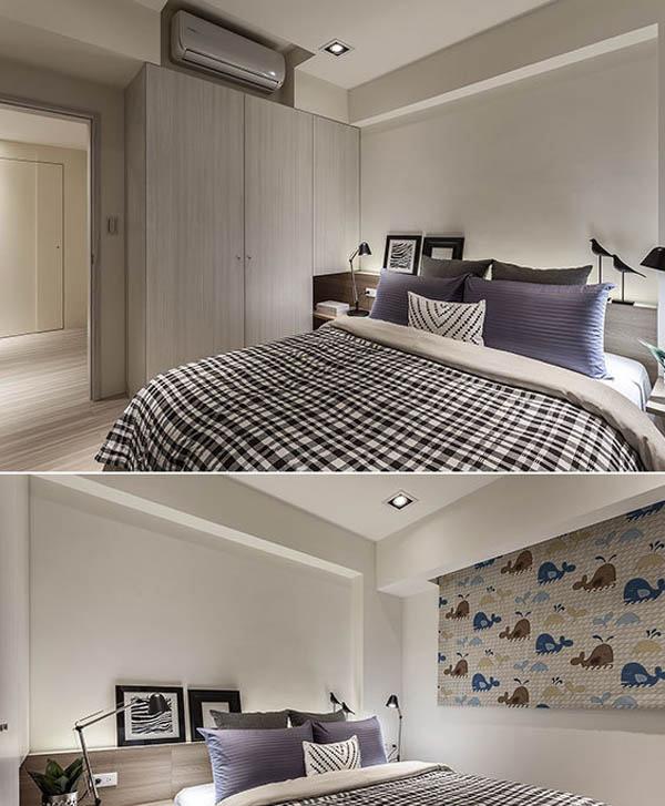 浮见月设计依循墙面打造出半高床头板,延展出收纳盒展示功能,并拉宽空间横向尺度。