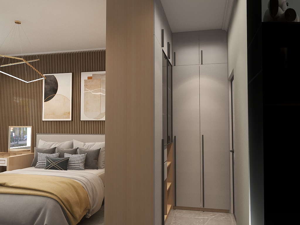 在空间允许的前提下,打造出相对独立的衣帽间,空间的功能区更完整。