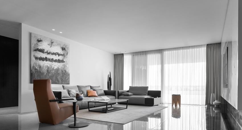 整体以最为低调的黑白灰三色为主,营造质感空间。