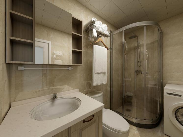 卫生间采用了干湿分离设计,洗手台上方增加了储物柜,增加储物空间,保证空间的充分利用。