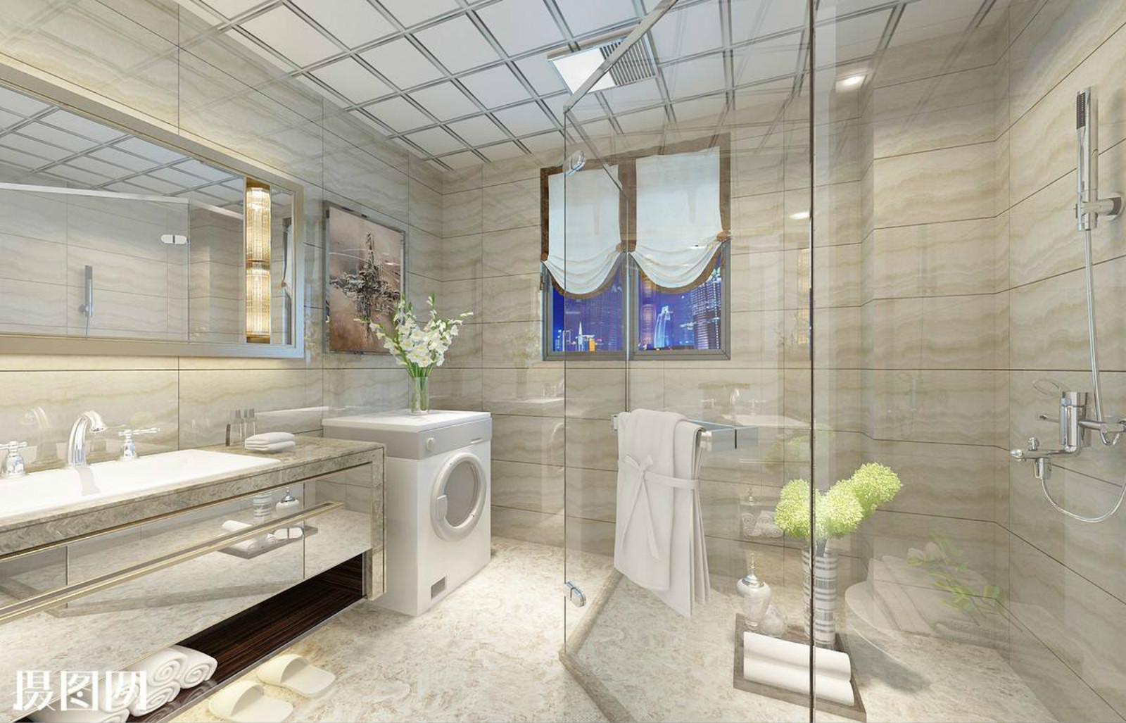 卫生间墙上壁镜的设计,同样很好的延伸了整个空间