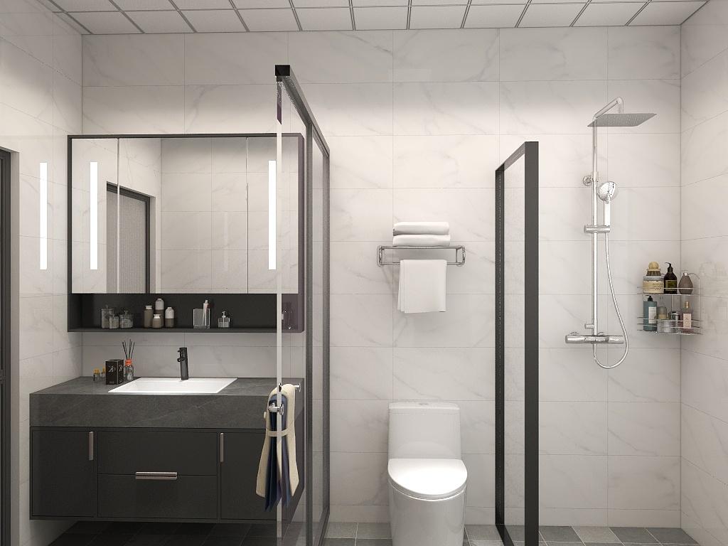 隔断将空间氛围洗手区、坐便区、淋浴区,让空间使用更为生动有序。