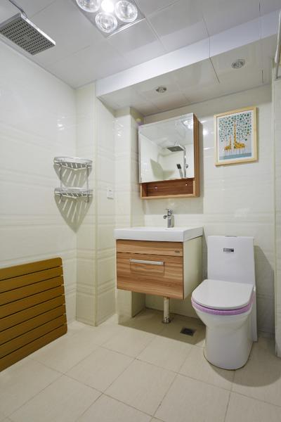 虽然干湿分离很有用,但是在户型有限的情况下,不做分离更合适,也照顾到了房主的生活习惯。