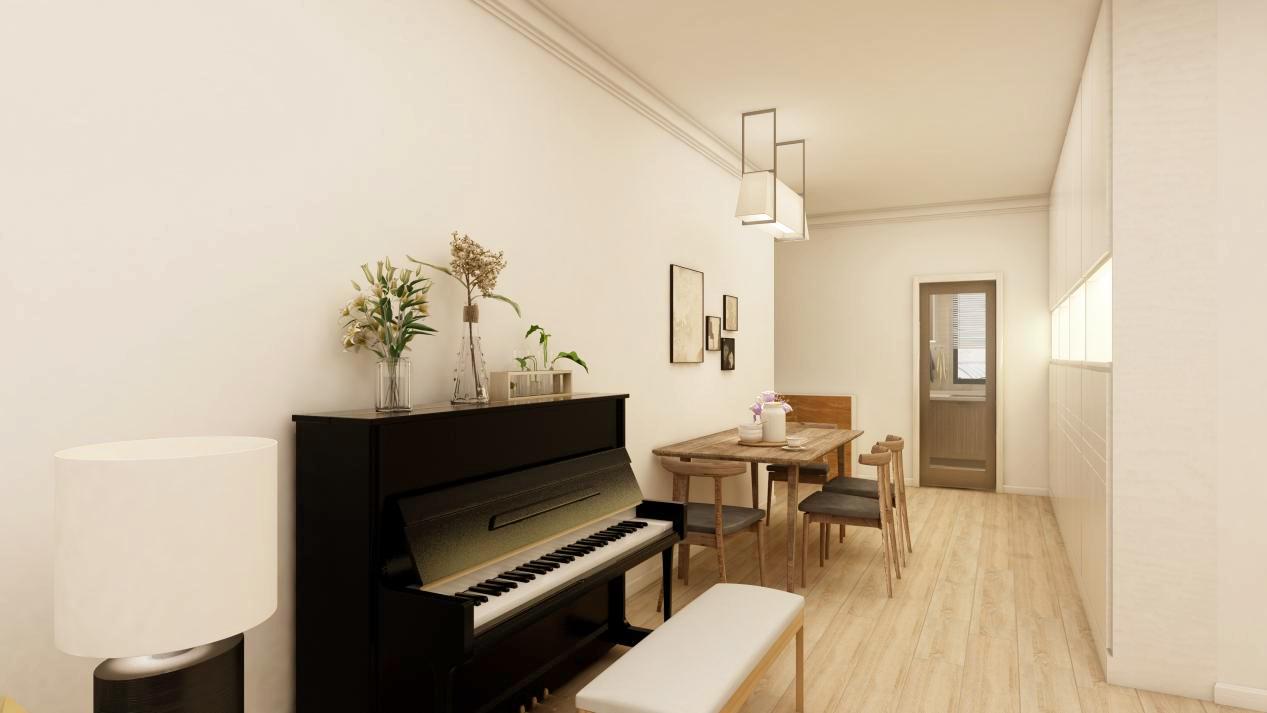 业主家的餐厅很大,放了一个餐桌后,还有很大空间,于是将家里的钢琴也放在了旁边,完全不影响正常行走。