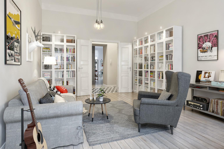 客厅两边放了书柜,方便主人更好的阅读,也能看出主人的阅读兴趣