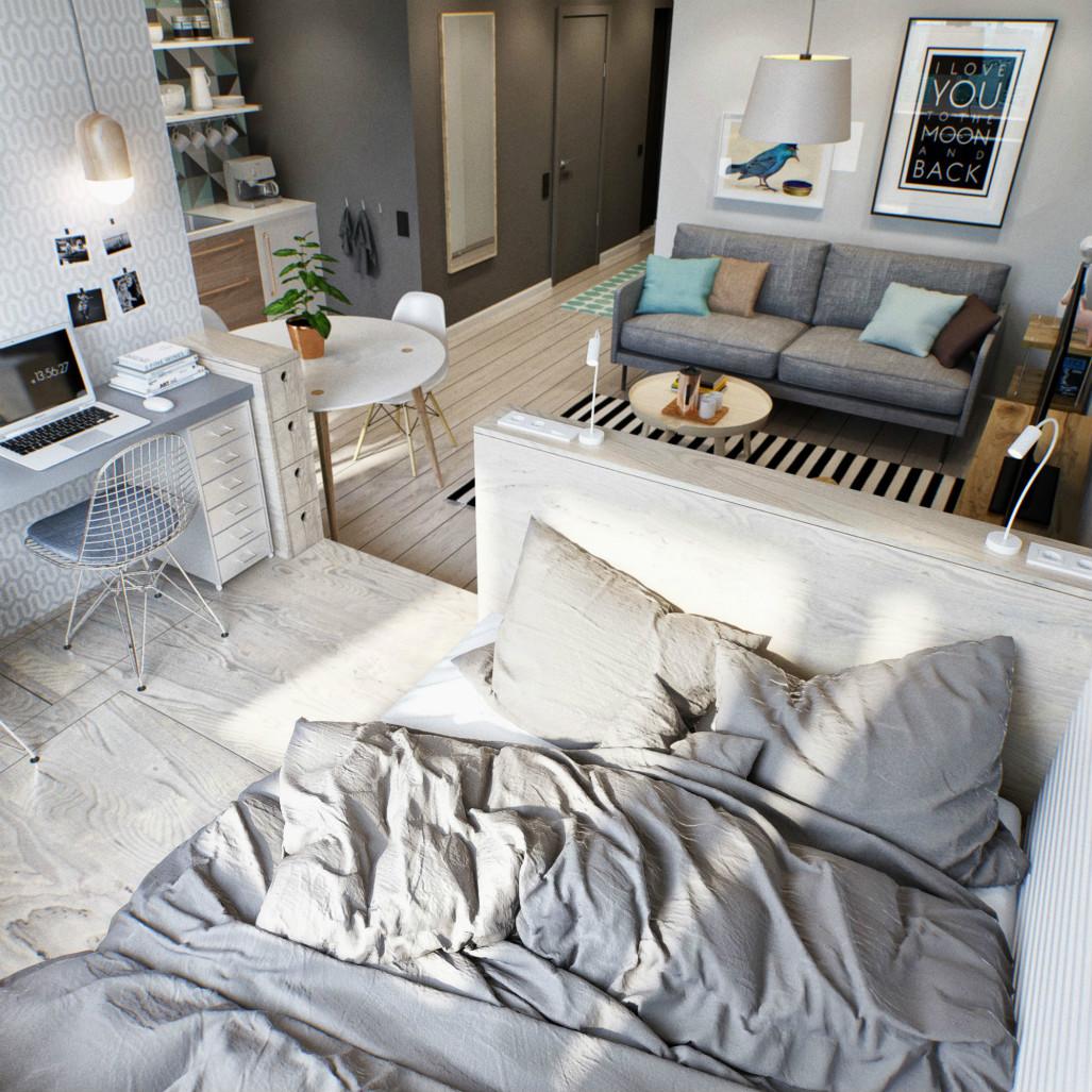 臥室也是在一個空間下布置得|_-深圳飞鹤航空,淺灰色係的床品--快乐女声报名,整個空間靈動不淩亂