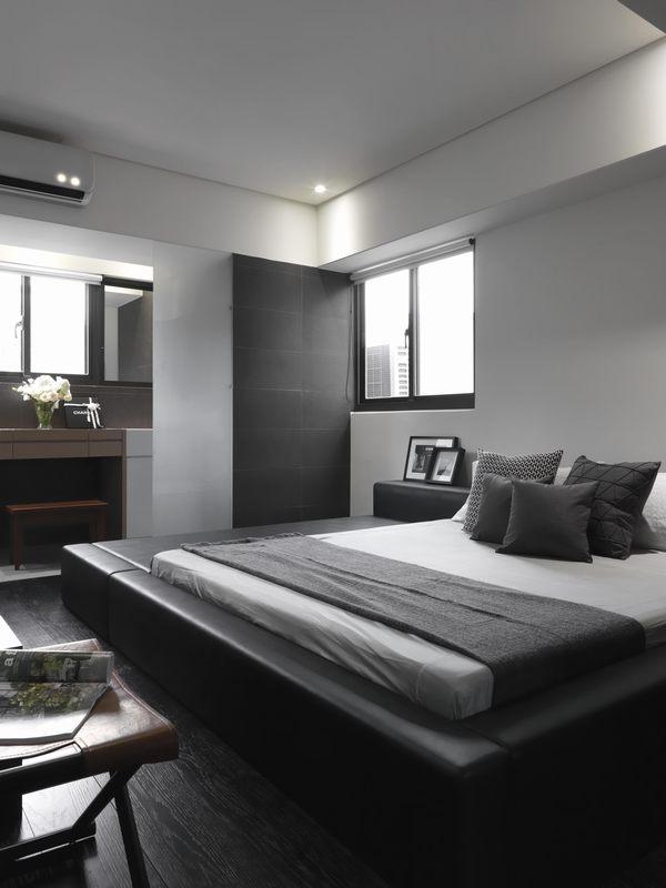 卧室以黑白灰为设计主基调,喜欢简约风格的业主可以参考这类配色。