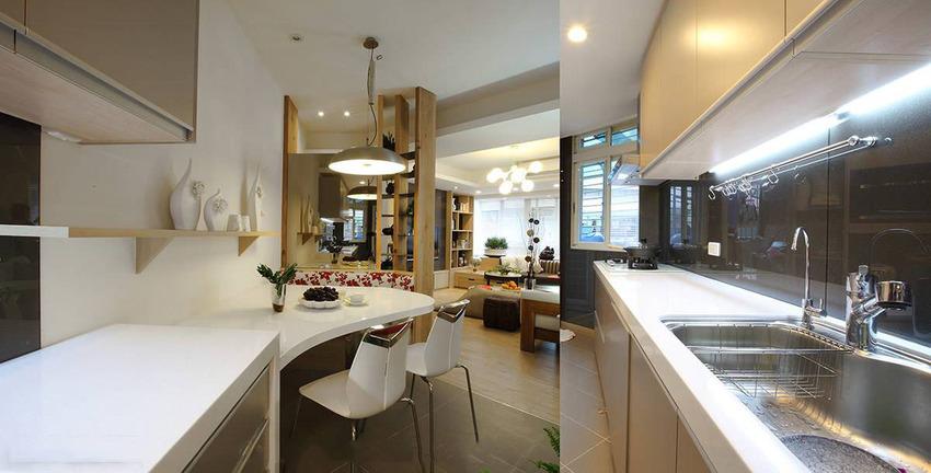 拉大厨具加强烹饪机能,包含工作台面及收纳容量都有了理想扩充。