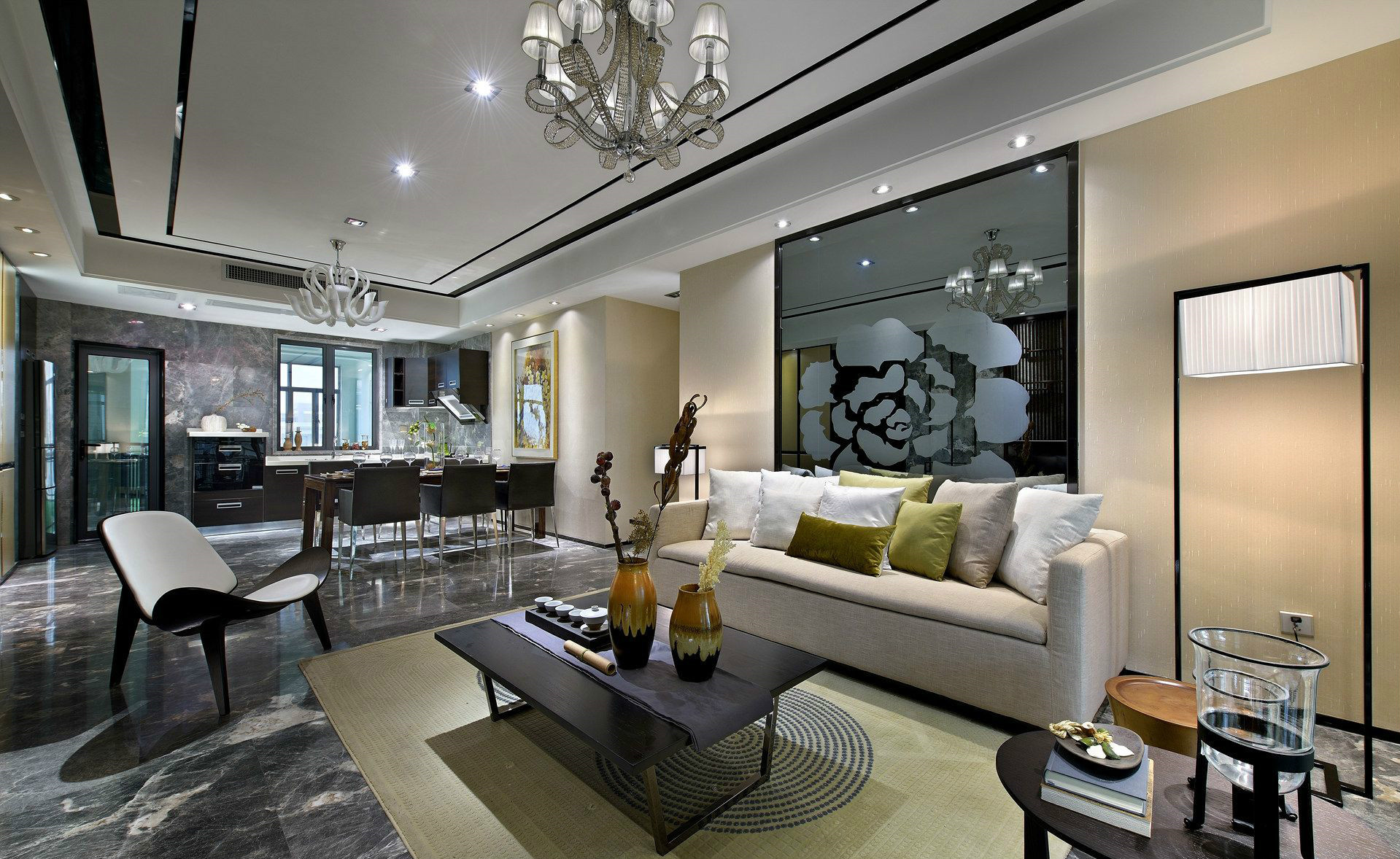 客厅空间主灯,通过多个嵌入天花的筒灯衬托,光线均匀显得更加的明亮大方有层次感