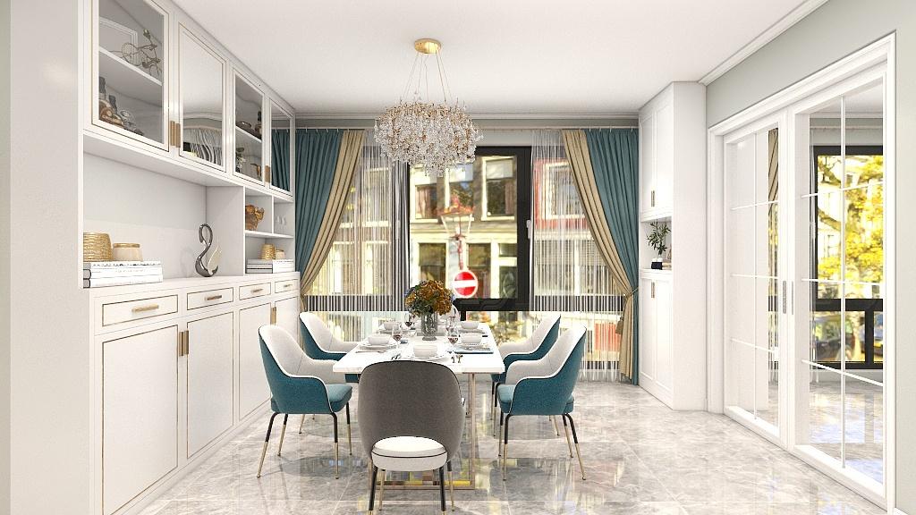 餐厅与厨房采用玻璃门进行隔断,视野更为开阔,同时也方便交流和照顾家人情绪。