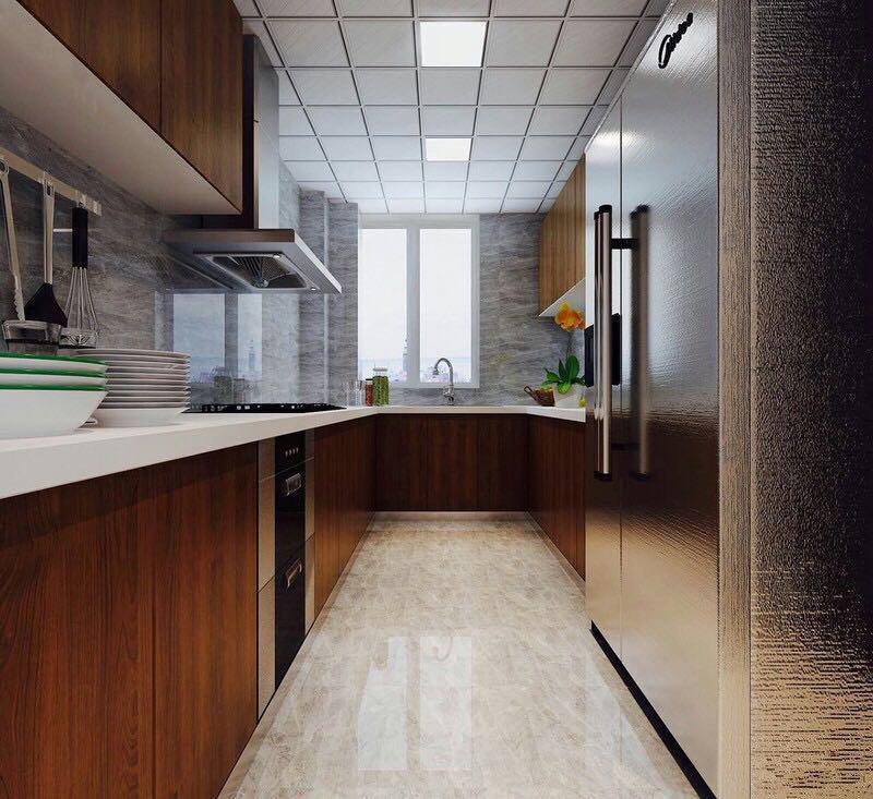 厨房,整体选色较为雅致,使得厨房空间更加整洁,樱桃木橱柜彰显业主生活品质。