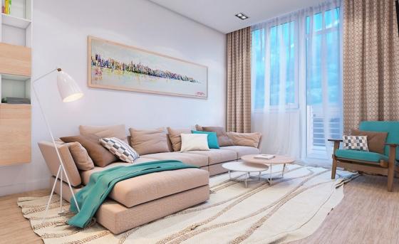 整个空间采用柔和清爽的大地色西搭配海洋的蓝色调,利用色彩营造出令人沁脾的度假气息。