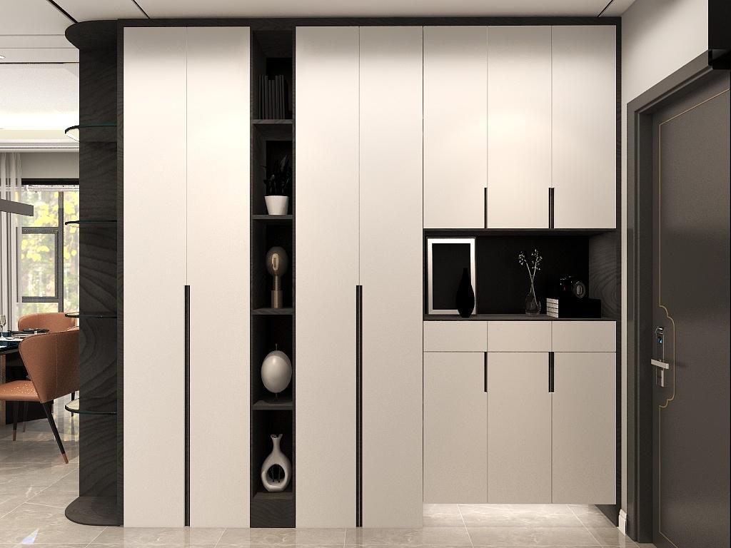 鞋柜+收纳+展示的玄关柜,收纳力非常强大,不仅满足了实用性还保证了美观效果。