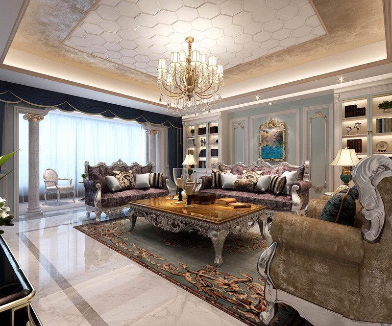 客厅的矩形吊顶以白色六边形板材搭配喷涂工艺,构成几何与轻奢;水晶灯的暖黄之光,搭配法兰绒沙发非常考究