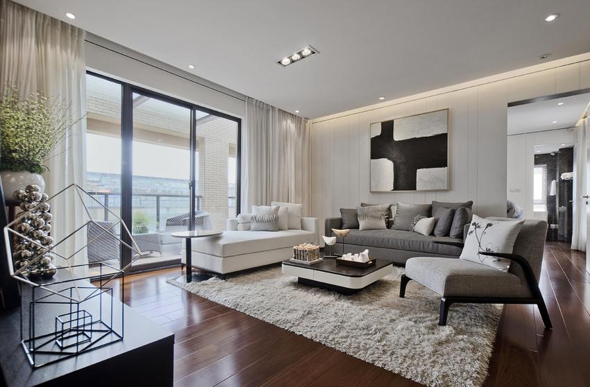 沙发背景墙有一扇隐藏的门,轻推,步入整洁的洗漱空间。